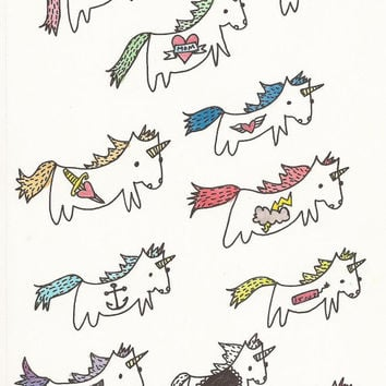 Unicorns with Tattoos Temporary Tattoo Pack by ConfettiBandits