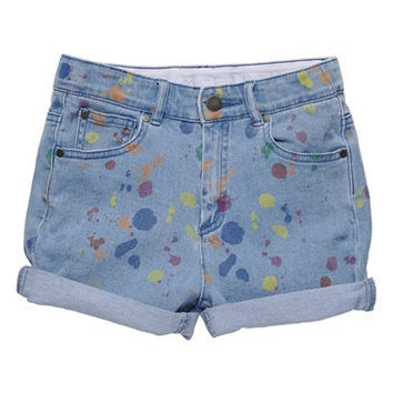 'Blake' Paint Splatter Roll Cuff Jean Shorts (Toddler Girls, Little Girls & Big Girls)