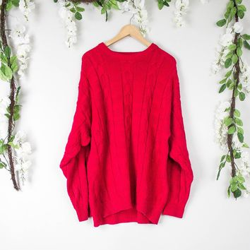 Vintage Red Cable Knit Sweater
