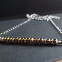 Gold and Silver Bar Necklace: Mixed Metal Chain Necklace, Industrial Style Modern Minimalist Jewelry