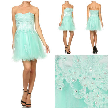 The Hannah Lace Corset Style Prom Formal Dress Gown in Mint