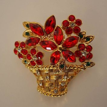 Red Rhinestone Basket Pin Navettes Fab Floral Jewelry