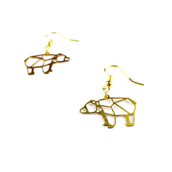 Geometric Bear Earrings - Dangly Earrings, Geometric Earrings, Bear Jewelry, Bear Jewellery, Geometric Animal Earrings