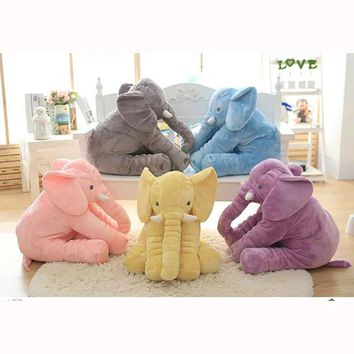 ONETOW 40 cm Baby Crib Elephant Plush Toy ,5 Colors Option Stuffed Elephant Pillow Newborn Cushion Doll Bedding For Adults Kids Toys