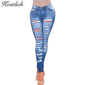 Kostlich Fashion Jean Taille Haute Femme Ladies Cotton Denim Pants Womens Bleach Ripped Jeans For Women Denim Jeans For Female