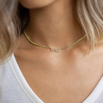 Name Necklace  - Silver Name Necklace - Name choker necklace - Gothic Name Necklace - Gold name necklace - Christmas Gift -Black friday sale