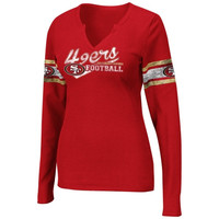 San Francisco 49ers Women's Plus Sizes Placket Thermal Long Sleeve V-Neck T-Shirt - Scarlet