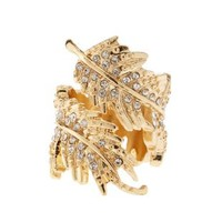 Rhinestone Feather Statement Ring by Charlotte Russe