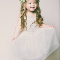Evangeline Flower Girl Dress in White