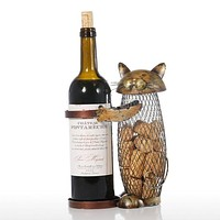 Cat Red Wine Rack Cork Container Bottle Holder Kitchen Bar Display Metal Wine Craft Gift Handcraft Animal Wine Stand