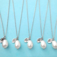 White,Pear Pearl, Italic, Font, Set of 5, Silver, Initial, Leaf