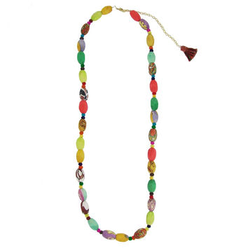 Kantha Oval Bead Garland Necklace