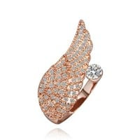 18K Rose Gold Plated Swarovski Elements Crystal Wing Opening Ring, Size 8