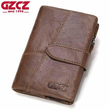 GZCZ Genuine Leather Retro Men Wallets High Quality Famous Brand Hasp Design Male Wallet Card Holder for Men's Purse Carteira