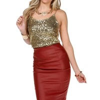 Gold Sequin And Chain Strap Top