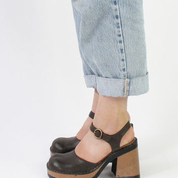 Vintage 90s Dark Brown Chunky Mary Jane Heels | 6.5