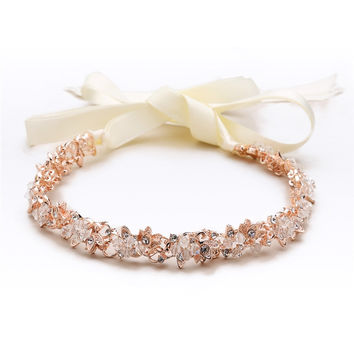 Handmade Couture Slender Rose Gold Bridal Headband with Hand-wired Crystal Clusters and Ivory Ribbons