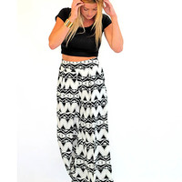 Black and White printed Palazzo Pants - Lotus Boutique
