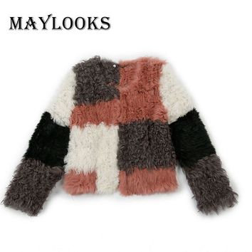 Mink Coats Women Maylooks 2018 Brand New 100% Mongolian Sheep Fur And Rabbit Women Coats Knitted Real Coat Overcoat Jacket Cs91