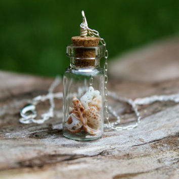 Beach in a bottle necklace, delicate handmade silver unique tiny jewelry, Aruba shell mixture in glass vase