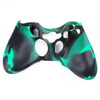 Factop xbox360 Controller Black Green Camo Silicone Case Cover Skin