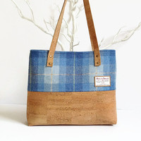 Eco Friendly Cork Bag - Harris Tweed Bag - Scottish Blue Tartan Bag - Vegan Gift