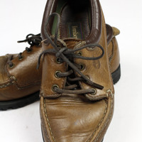 1980s Timberland boat shoes / womens size 6.5 6 and 1/2 / brown leather / topsiders / deck shoes / low tops