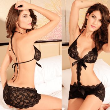 Black Lace Ribbon Sexy Lingerie