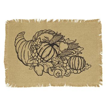Giving Thanks Burlap Placemat with Cornucopia Set 6-12x18