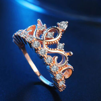 Rose Gold Ring Crown Female Jewellery
