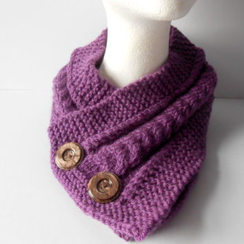 Knitted Scarf. Winter Cowl. Cable Neckwarmer. Knit Cowl. Ladies Neckwear. Eternity Scarf. Purple Short Scarf. Women's Collar Scarf.