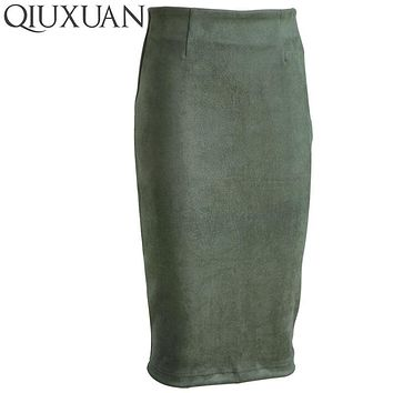QIUXUAN Size S-XL Women Packet Hip Skirts 2017 Spring Fashion Faux Suede High Waist Pencil Skirt Bodycon Basic Office Lady Skirt