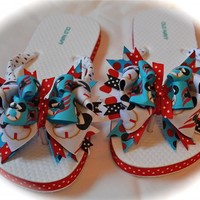 Custom Boutique Adult Women's Ladies Nautical Sailing Ship Nautical MICKEY MINNIE MOUSE Disney Cruise Vacation Beach Ribbon Bow Flip Flops