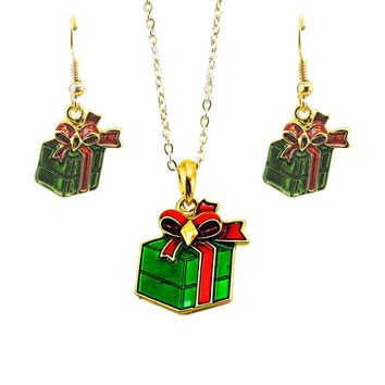 Necklace Christmas Gift Ornaments Christmas Gift Red and green drops of Christmas Day Necklace Pendant Earrings set #45