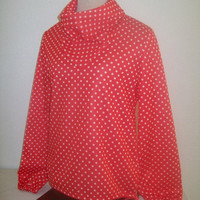 11-1211 Vintage 1970s Poly Red Polka Dot Boating Blouse / Cowl Neck Shirt / Red Long Sleeve Blouse