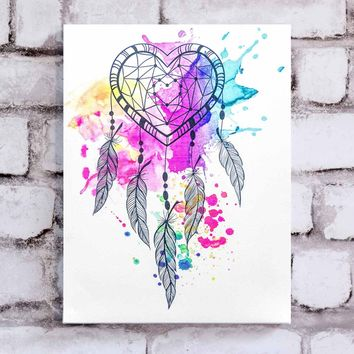 Heart Dream Catcher Canvas