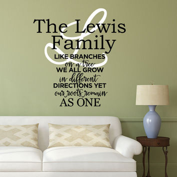 Family Wall Decal Quote- by Decor Designs Decals, Family Like Branches On A Tree- Vinyl Lettering- Bedroom Decor- Family Tree Wall Decal, Inspirational Quote - AU18