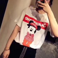 """Louis Vutitton × Supreme"" Letter Cartoon Mickey Print Women Casual Short Sleeve T-shirt Top Tee"