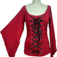 RED Gothic Corset Renaissance Top