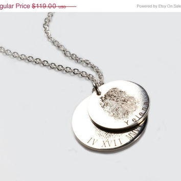 Fingerprint Engraved Disc Necklace, Custom, Personalized, Engraved, Valentines day, Anniversary