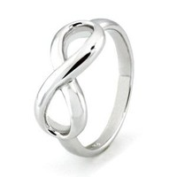 925 Sterling Silver Infinity Symbol Wedding Band Ring, Nickel Free Sz 6