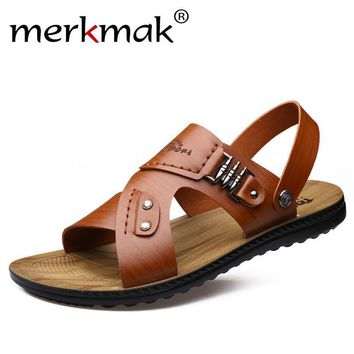 Merkmak New 2017 Summer Men Sandals Micro Fiber Leather Fashion Casual Flat Shoes Beac