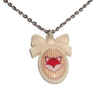 Cameo Necklace, Cream Stripey Kawaii Fox Necklace