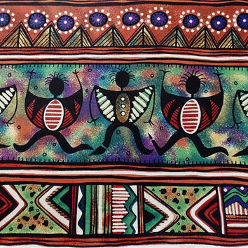 African Inspirations Fabric Tribal Fabric Geometric Fabric Craft Fabric Quilting Fabric Cotton Fabric Pillow Fabric Theme Fabric