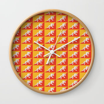 flag of bhutan 2-Bhutan, Himalaya, South Asia,Bhutanese, bhoutan, bhoutanais Wall Clock by oldking