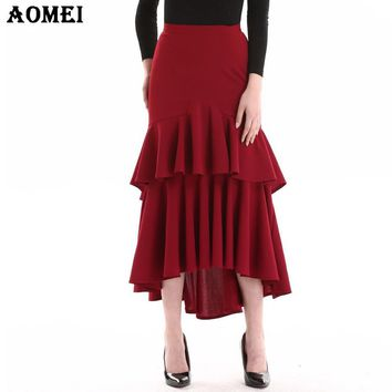 Ladies Ruffles Cake Irregular Skirt Wine Red Color High Waist Female Elegant Party Wear Bottoms Swallowtail Clothing