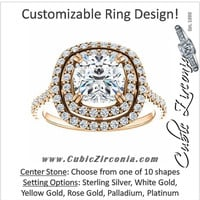 Cubic Zirconia Engagement Ring- The Alexandra (Customizable Double Halo Center with U-Pave and Pavé  Band)