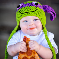 TMNT Purple Donatello Inspired Hat - Newborn & Baby Sizes