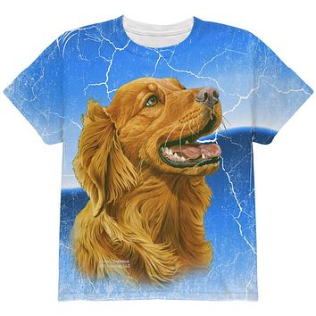 Golden Retriever Live Forever All Over Youth T Shirt