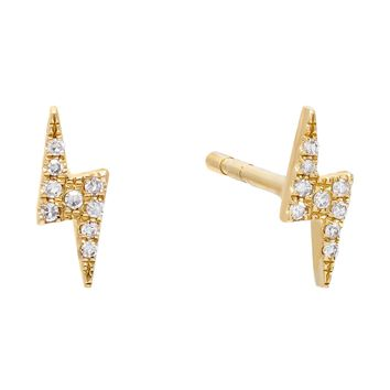 Diamond Lightning Stud Earring 14K